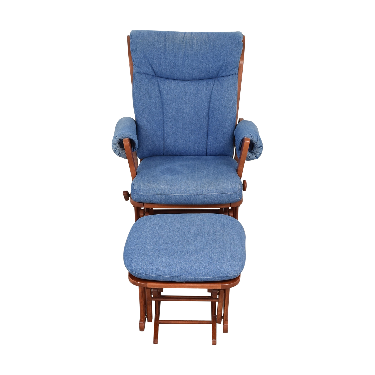 shop Dutailier Multi-Position Reclining Sleigh Glider and Ottoman in Blue Denim Dutailier Accent Chairs