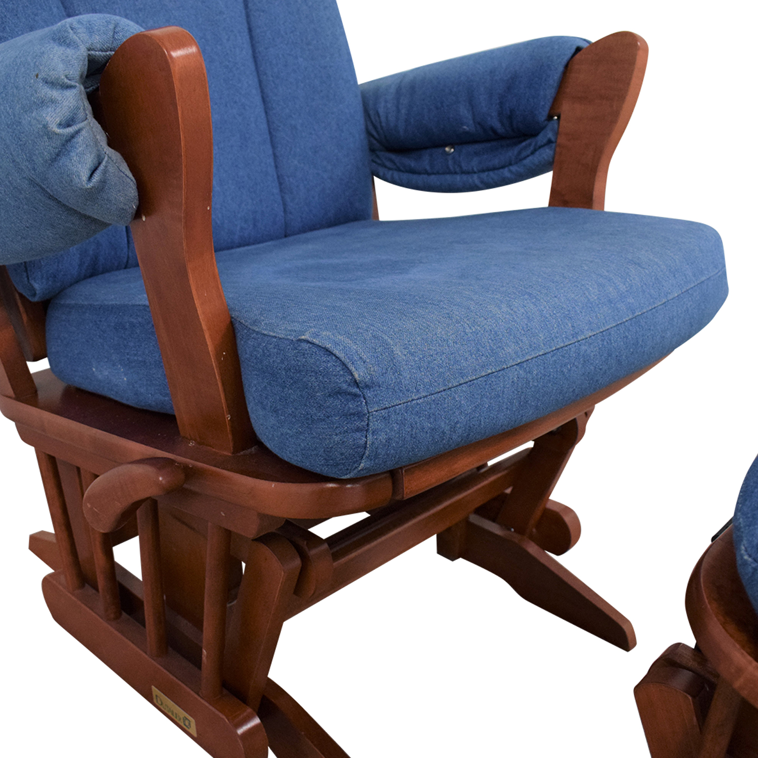 Dutailier Multi-Position Reclining Sleigh Glider and Ottoman in Blue Denim / Accent Chairs