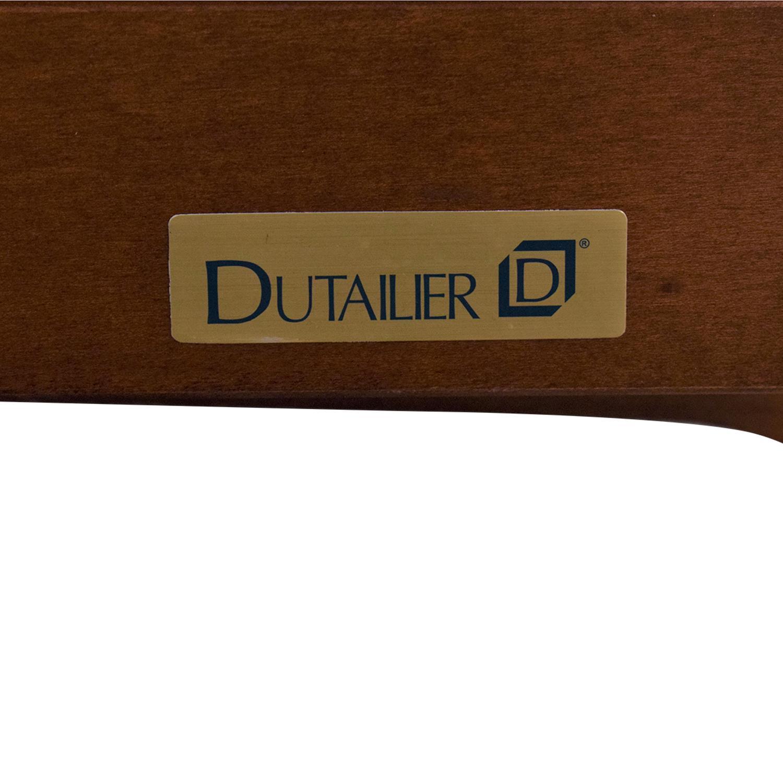 Dutailier Multi-Position Reclining Sleigh Glider and Ottoman in Blue Denim Dutailier
