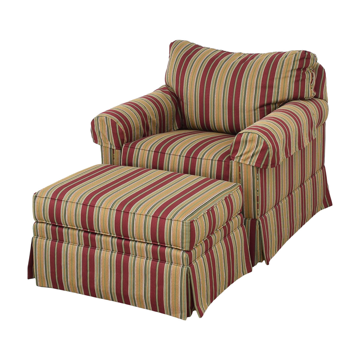 Ethan Allen Ethan Allen Slipcovered Chair and Ottoman multi