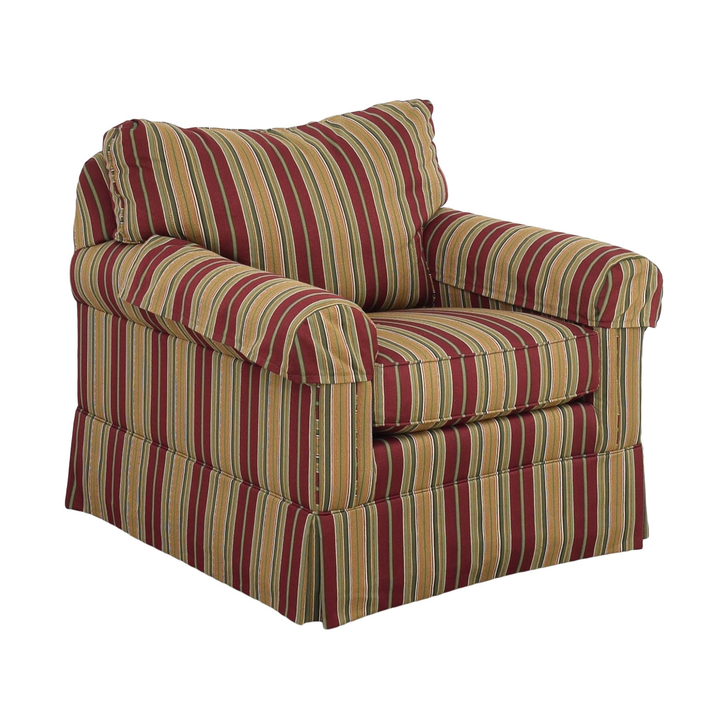 Ethan Allen Slipcovered Chair and Ottoman Ethan Allen