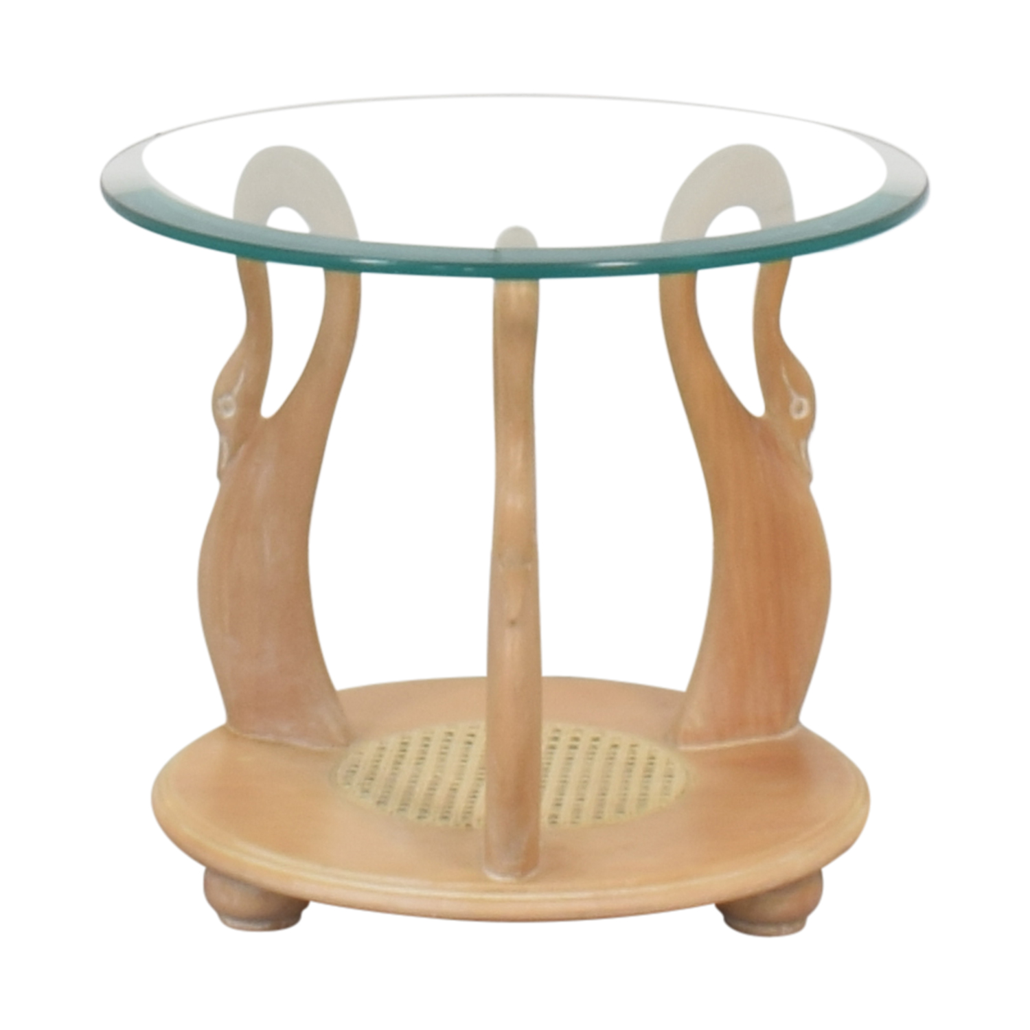 Hand Carved Mid Century Side Table second hand