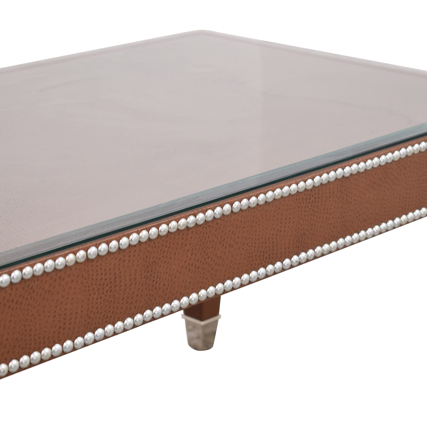 62 Off Leather Coffee Table With Nailheads Tables