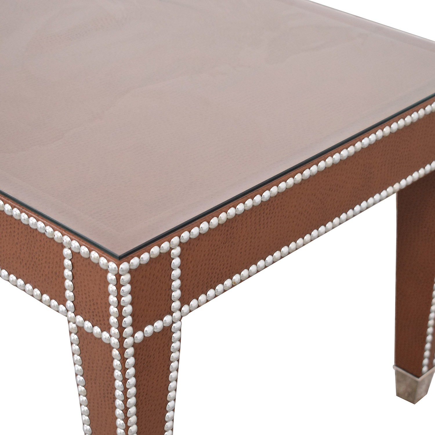 60 Off Leather Coffee Table With Nailheads Tables