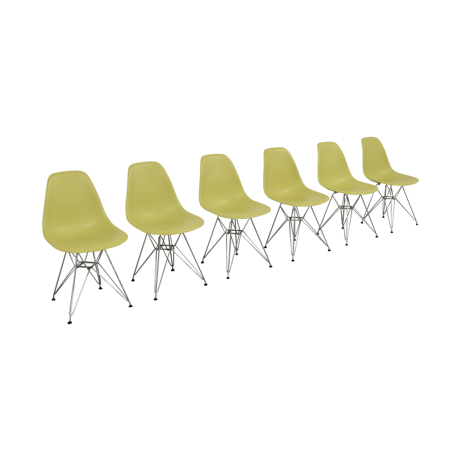 Vitra Vitra Eames Molded Plastic Wire-Base Side Chairs light green
