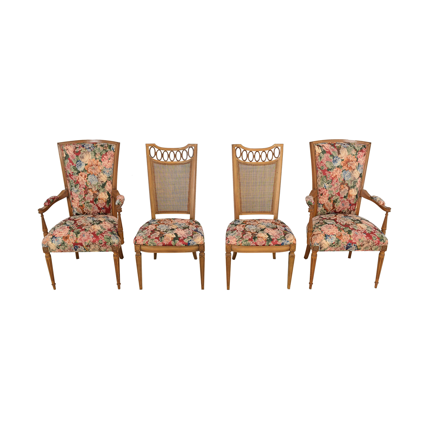 Floral Upholstered Arm and Side Dining Chairs
