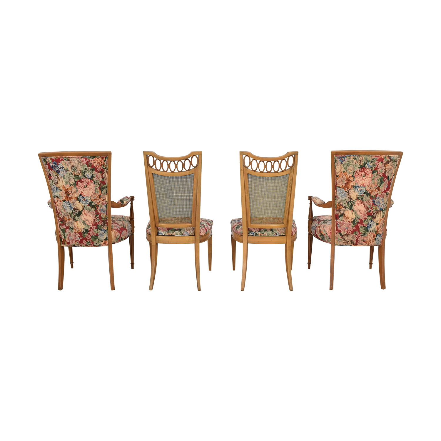 Floral Upholstered Arm and Side Dining Chairs multi