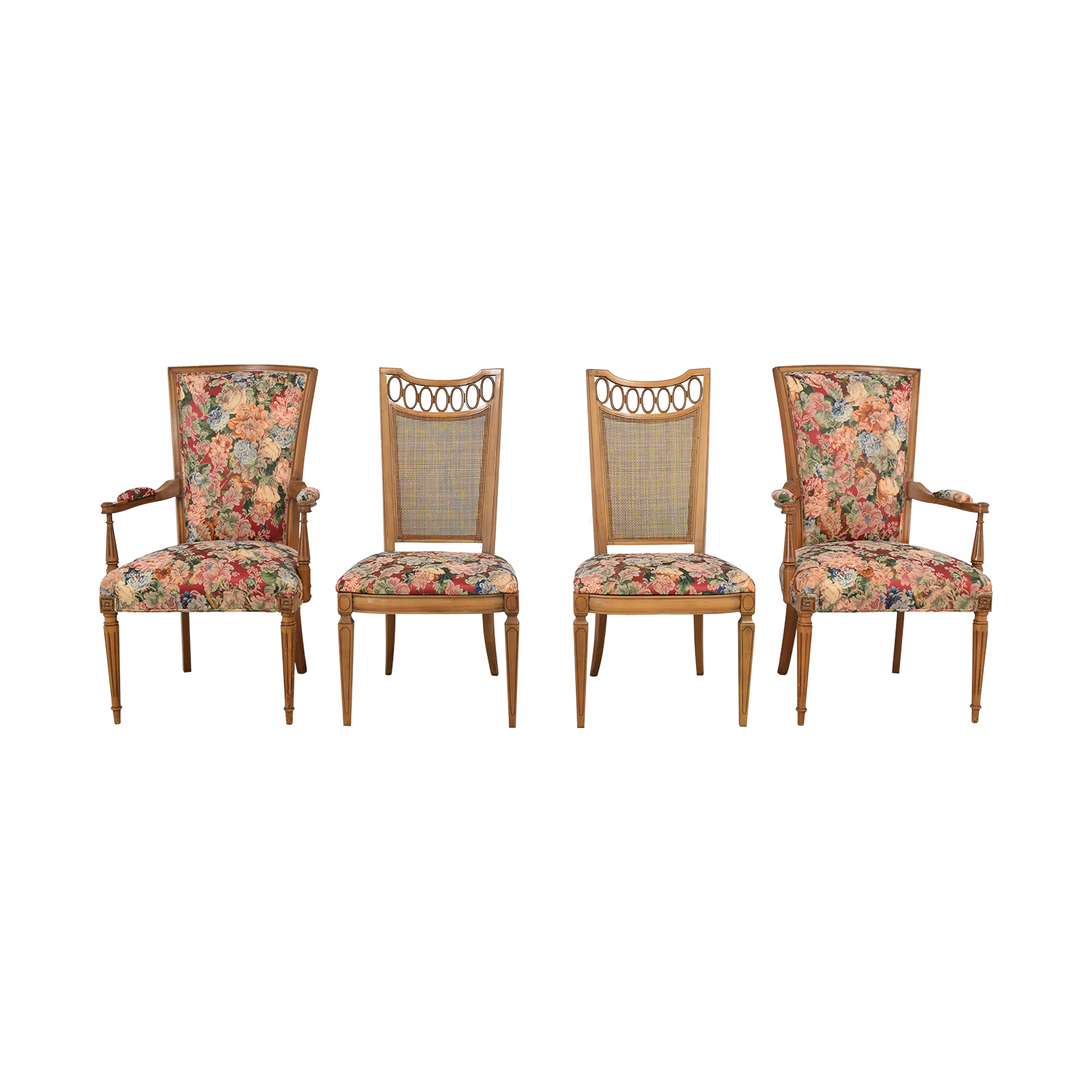 Floral Upholstered Arm and Side Dining Chairs ma