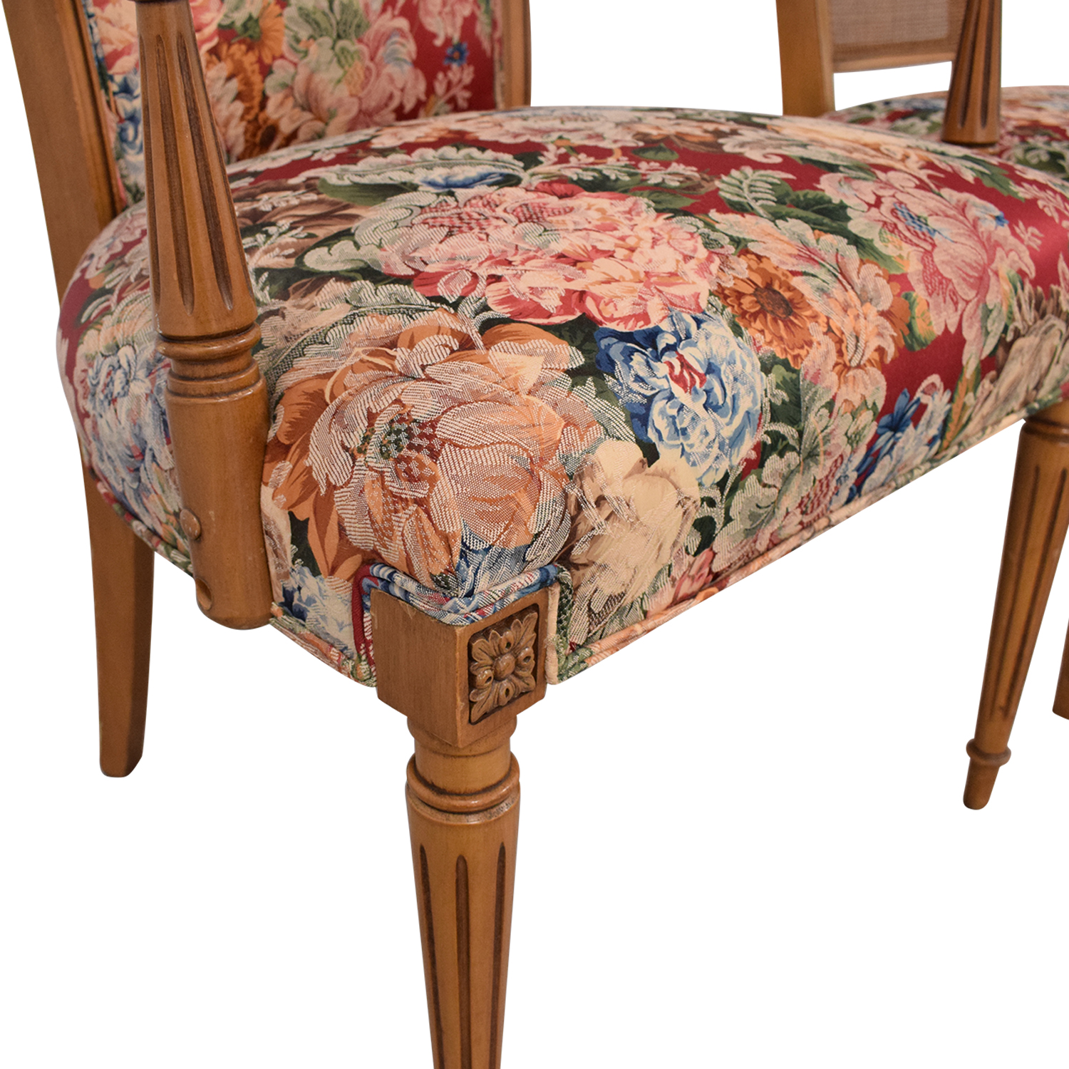 Floral Upholstered Arm and Side Dining Chairs Chairs