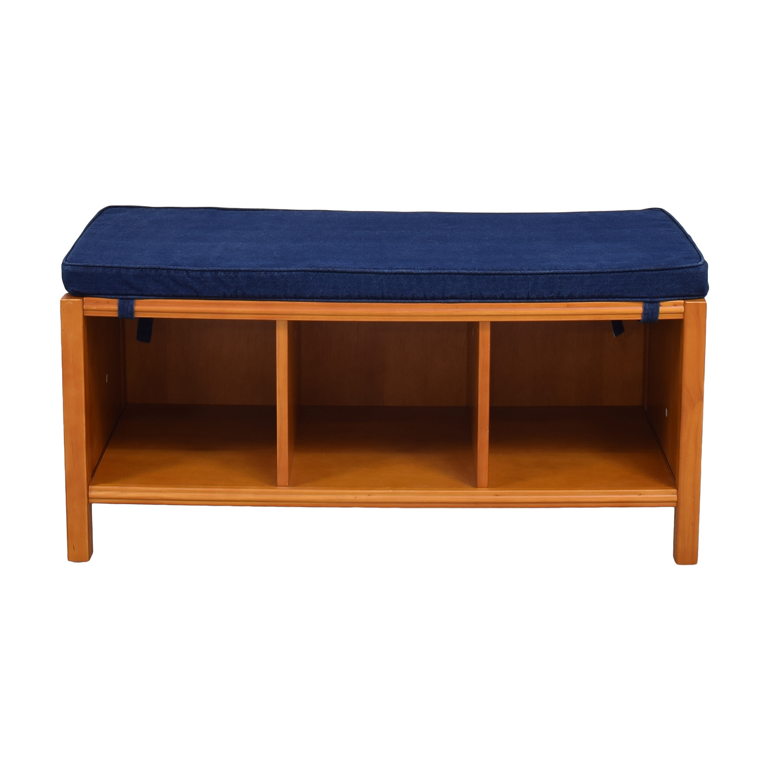 Land of Nod The Land of Nod Three Cube Bench with Cushion brown & blue