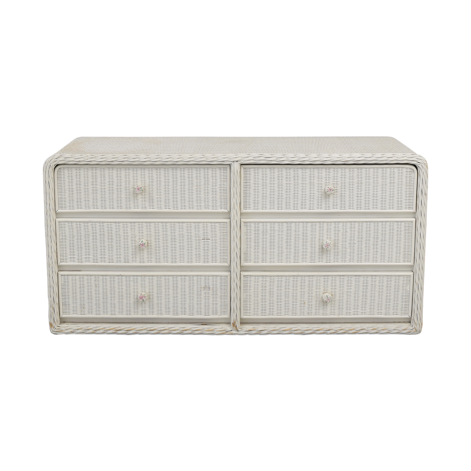 White Wicker Chest of Drawers on sale