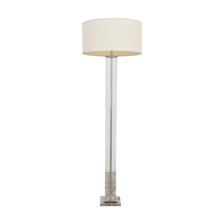 Restoration Hardware French Column Glass Floor Lamp with Shade Restoration Hardware