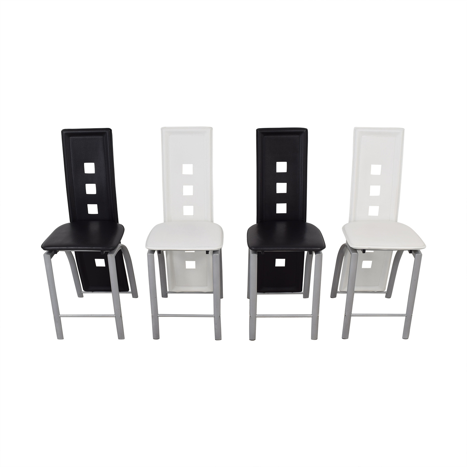shop  Black and White High Back Side Dining Chairs online