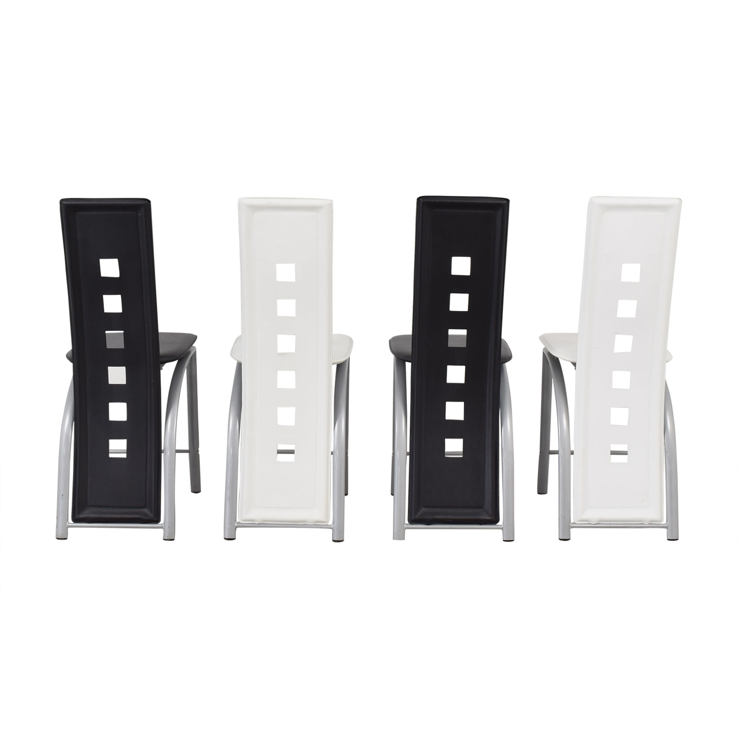 Black and White High Back Side Dining Chairs pa