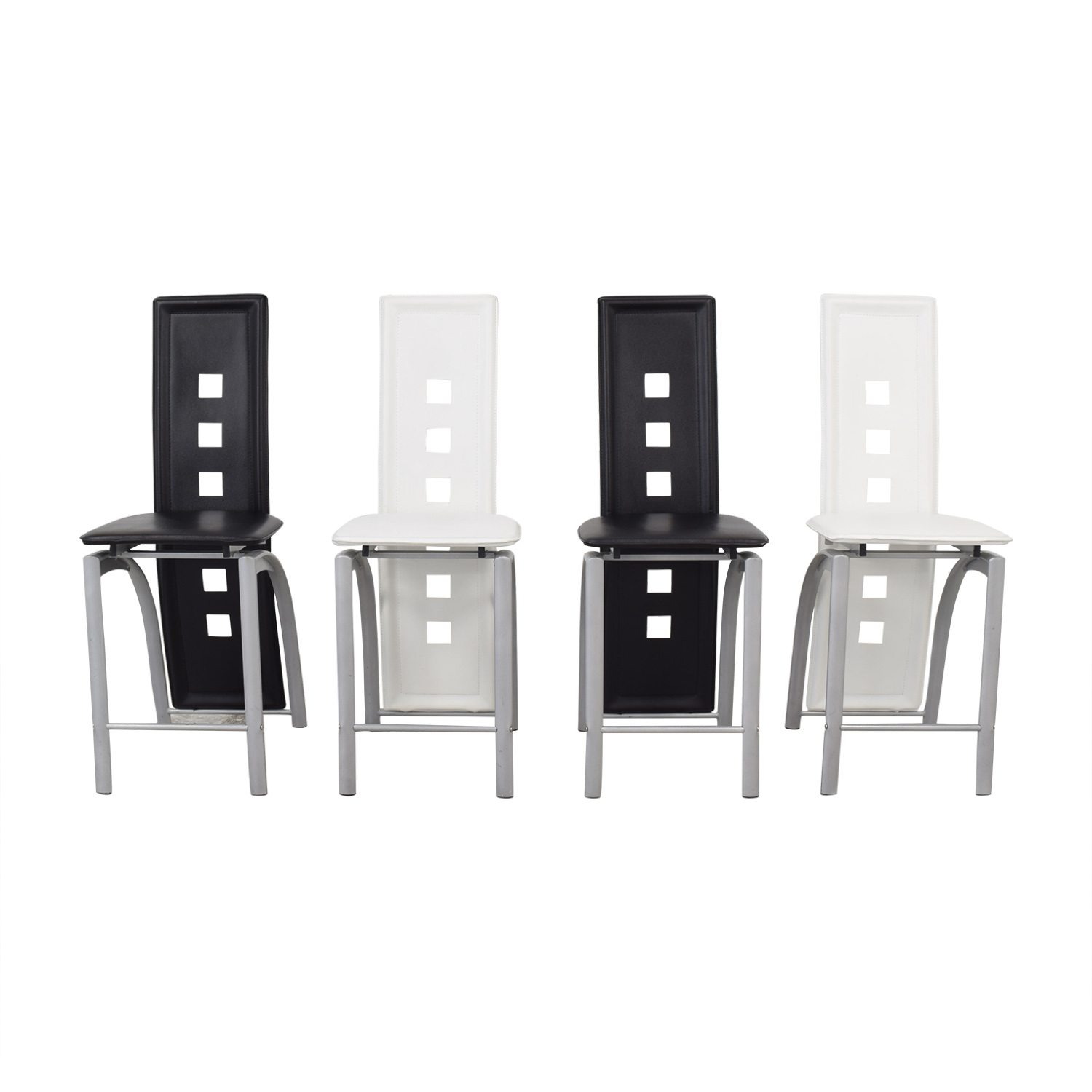 Black and White High Back Side Dining Chairs ma