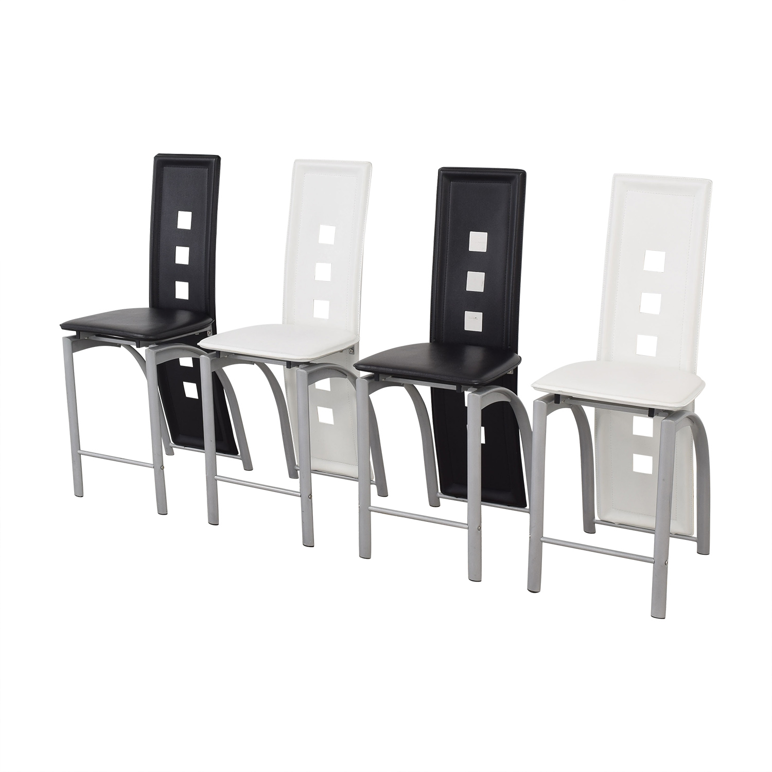 Black and White High Back Side Dining Chairs