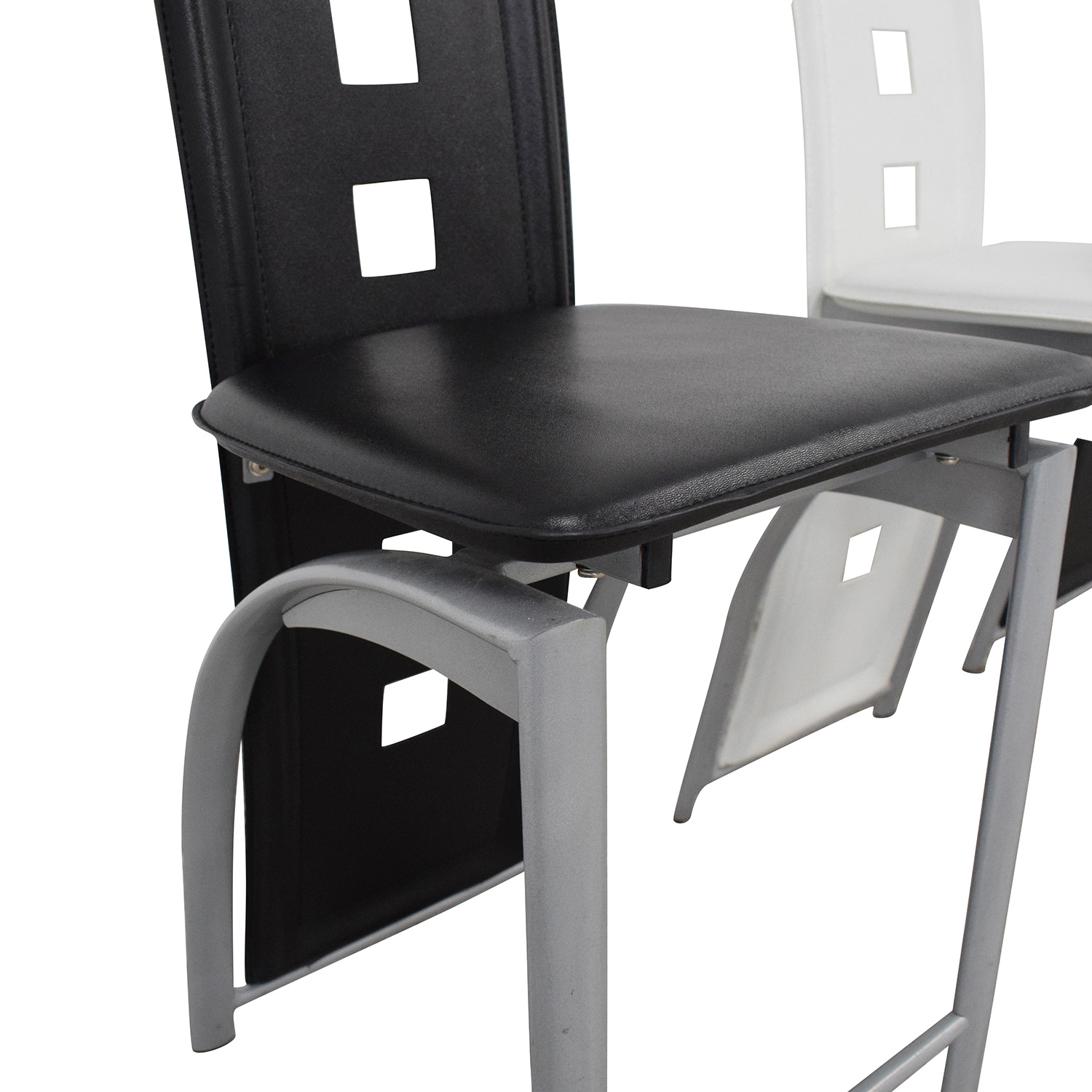 Black and White High Back Side Dining Chairs nyc