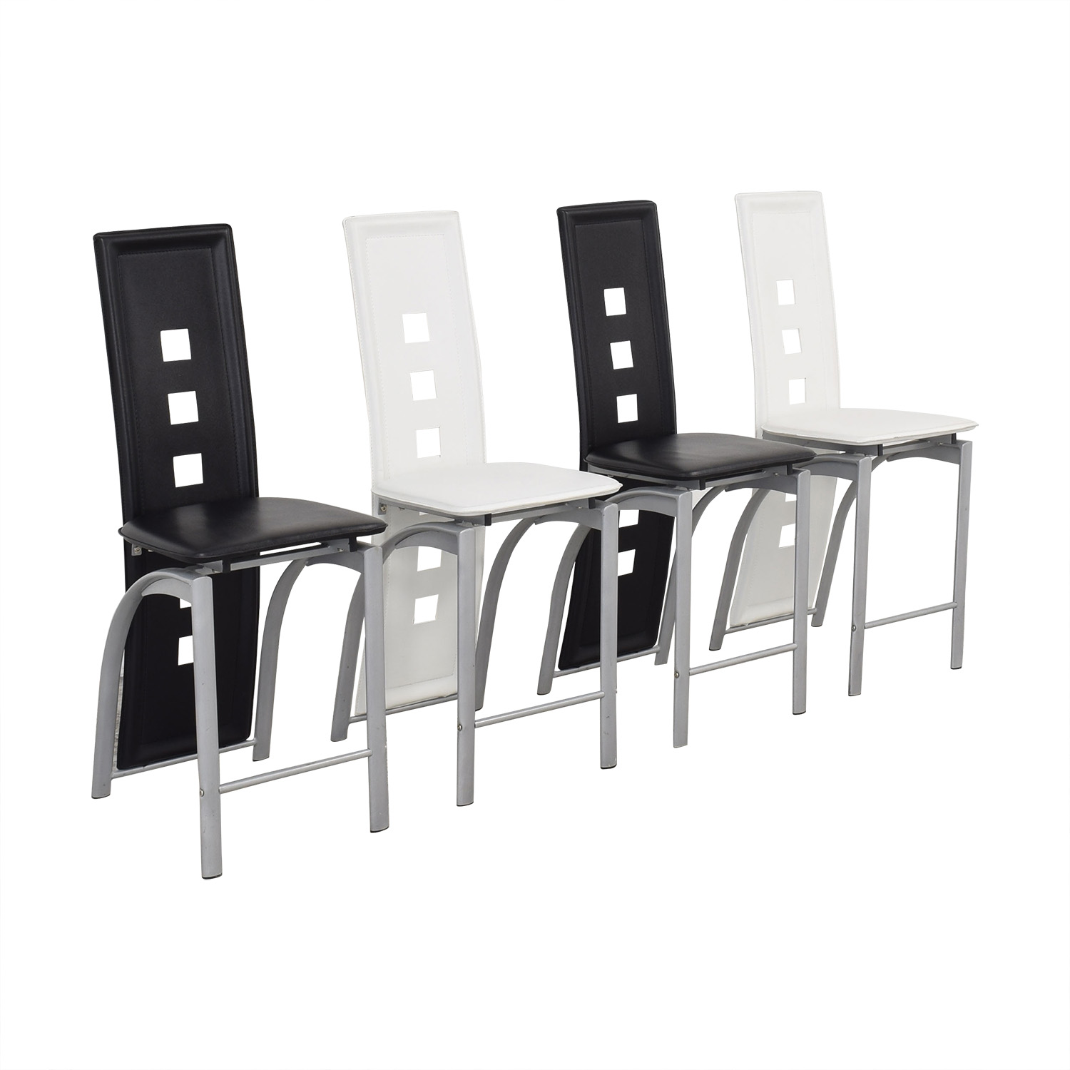 buy  Black and White High Back Side Dining Chairs online