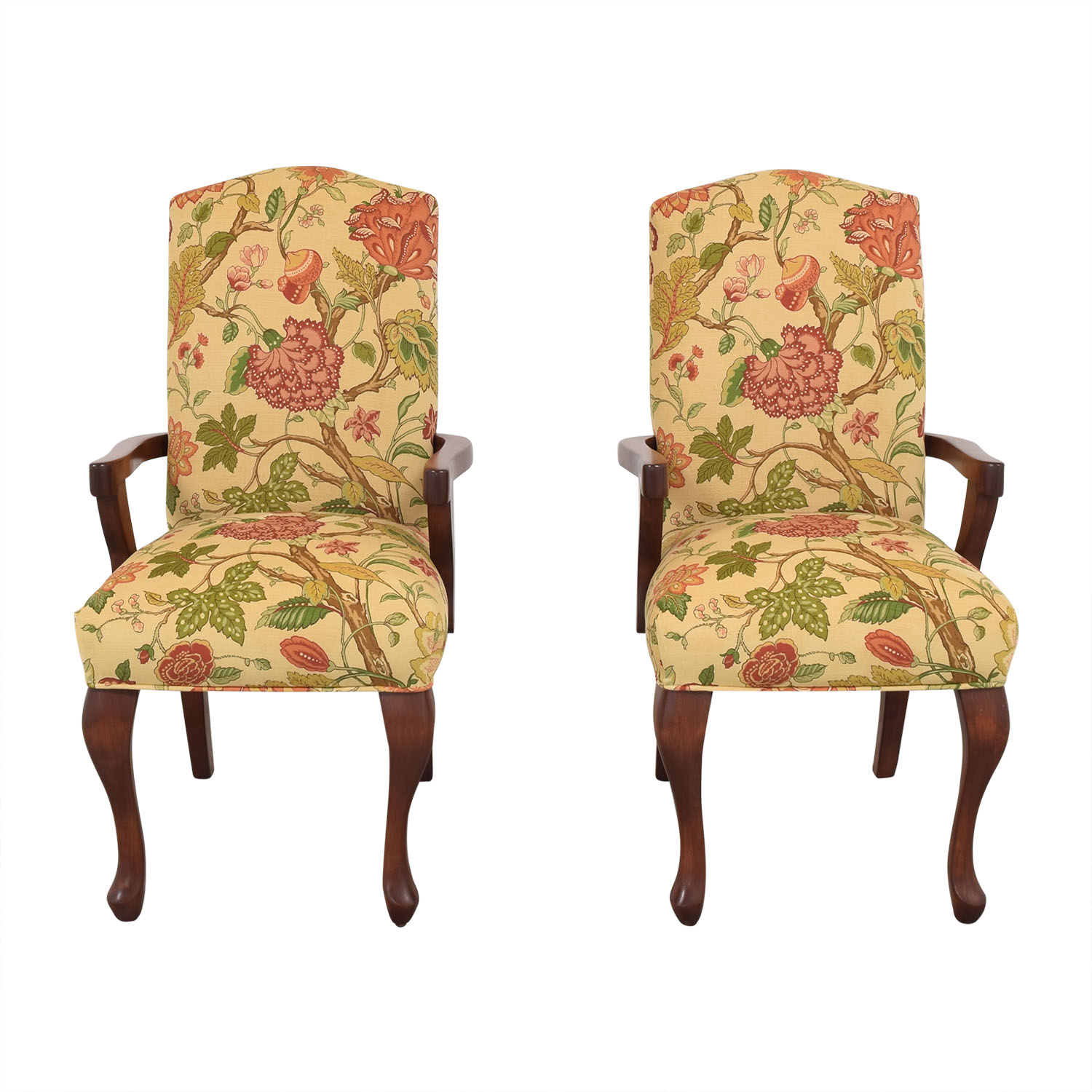 Upholstered Leaf Motif Armchairs discount