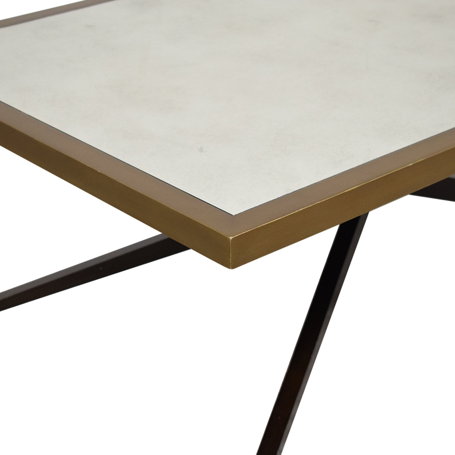70 Off Kathy Kuo Home Mr Brown Atlantis Modern Cross Pin Br Antique Mirror Coffee Table Tables