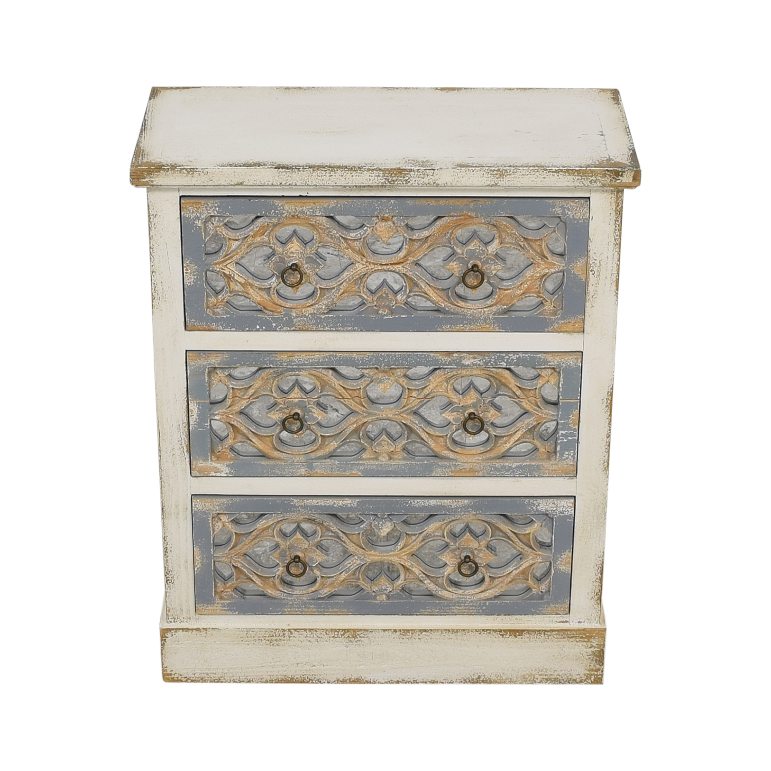 Pier 1 Pier 1 Cosette Antiqued Mirrored Chest white and blue